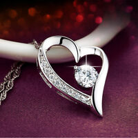 Herz Halskette Collier mit Swarovski Kristallen Zirkonia 925 Sterling Silber Neu