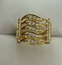 Pre Owned 14k Solid Yellow Gold Five Waves Ring W/ Natural Diamonds0.65CT/7.49GM