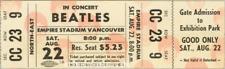 1  BEATLES VINTAGE UNUSED FULL CONCERT TICKET 1964 Vancouver, BC  laminated