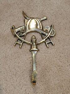 Vintage Brass Key Hook FIREFIGHTER EQUIPMENT Spare Keys Organization