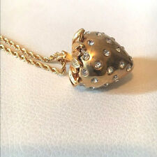 Kenneth Jay Lane Crystal 22k Gold plated Strawberry Pendant Necklace BNWT