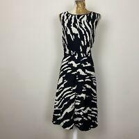 TU Dress 22 Black Cream Aline Fit Flare Animal Print Safari Linen Blend Plus NEW