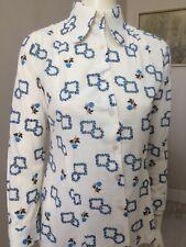 Original Vintage 70s Top Blouse , Floral Shirt ,Small ,Mod ,Go Go Madmen Hipster