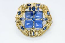 CHANEL 1970's Gripoix Blue Glass Byzantine Style Pendant Brooch