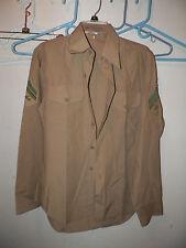 USMC MARINE CORPS ENLISTED MAN'S E-4 SERVICE DRESS KHAKI SHIRT SIZE 15 1/2 X 34