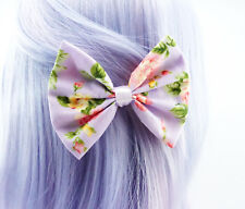 Pastel Purple with Pink & Yellow Floral Print Medium Fabric Hair Bow