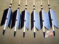 6 New Cedar Wood Traditional ARCHERY BLACK AND GRAY    Arrows   FLU-FLU 50/55