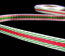 """5 Yds Christmas Reversible Red Green White Striped Woven Ribbon 3/8""""W"""
