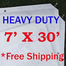 7' x 30' Heavy Duty White Poly Tarp - 6 OZ.