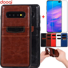 For Samsung Galaxy S 10 9 8 Plus Card Holder Wallet Case Cover+Screen Protector