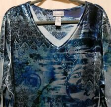 359657df648a70 Catherines Womens Plus Sz 2X 22 24 Velour Knit Top Blue Embellished 3/4  Sleeve
