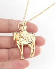 HORSE & WESTERN JEWELLERY JEWELRY LADIES SIDE SADDLE RIDER NECKLACE GOLD