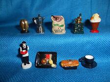 COFFEE Bean MOKA POT Grinder Set of 9 Mini Figurines FRENCH Tiny Porcelain FEVES