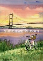 humber bridge  A3 giclee print of original water colour painting hull Yorkshire