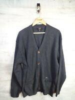 vtg Terrace Wear Paul & Shark  cardigan 100% wool jumper ref21 XXL