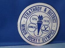 STRATHROY DISTRICT HOCKEY OLYMPICS 1978 PATCH VINTAGE ONTARIO SOUVENIR BADGE