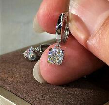Certified 2.00 Ct 14K White Gold Round Cut Moissanite Drop/Dangle Earrings