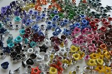 50 Metal Eyelets Grommets Rivets many COLORS and SHAPES for Punches & Beads