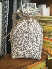 Door Stop Handmade Shabby Chic Fabric  Burlap Grey White Paisley Unfilled