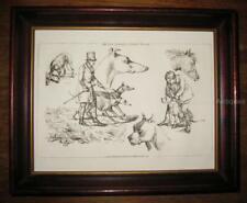 Antique Framed Print Dog Art Henry Alken's Scrapbook Greyhound Bull Terrier 1824