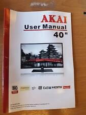 """GENUINE ORIGINAL AKAI 40"""" DIGITAL LCD TV USER GUIDE MANUAL"""