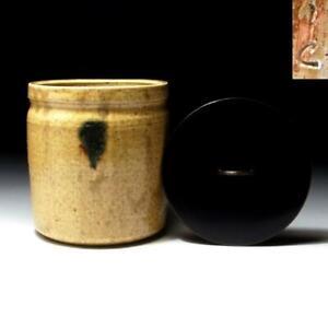 @YO49: Japanese Pottery Tea Ceremony Mizusashi, Water Container, Seto ware