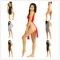 Womens Backless High Side Split Cheongsam Night Dress Halter Lingerie Babydoll