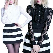 Lace Button Down Collar Semi Fitted Tops & Shirts for Women