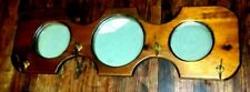 Antique Wood Coat Hat Rack Wall Mount 3 Mirror 4 Double Arm Brass Hooks 1900's