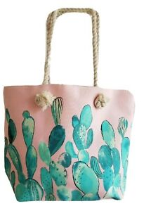 Pink Bag/Tote with Green Cactus Design- NEW with Tag