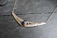 Hübsches 925 Silber Collier Kette Blauer Stein Indianer Hippie Ethno Elegant Top