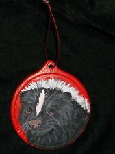 Skunk Christmas Ornament Decoration Hand Painted Ceramic