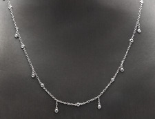 14K Solid White Gold Diamond Fashionable Chain Necklace