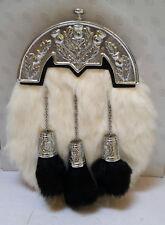 Scottish Kilt Original White Rabbit Fur Full Dress Sporran Antique Chrome Cantel