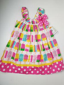 Bonnie Jean Girls Lollipop Print Trapeze Summer Dress Polka Dot Hem UK 3 US 3T