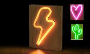 Neons Light Sign on Wooden Base LIGHTENING FLASH Retro Home Decor Night AU Stock