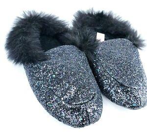 Victoria's Secret Black Fur Glitter Bling House Glam Slippers Womens Size 5/6 NW
