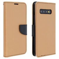 Fancy style cover, wallet case with stand for Samsung Galaxy S10 Plus - Gold