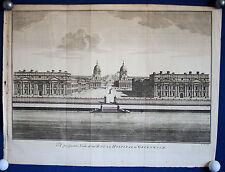 GREENWICH Royal Hospital grosser Kupferstich von Cole um 1740 Original!