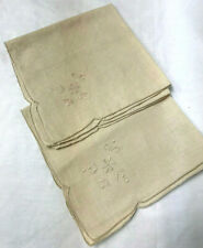 "Set of 6 Embroidered Beige Table Napkins Linen Scalloped Edge 16"" Square"
