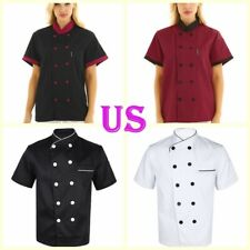 Us Unisex Chef Uniform Kitchen Restaurant Cook Working Coat Pocket Jacket Shirt