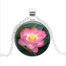 Pink Lotus Flower Tibet silver Glass dome Necklace chain Pendant Wholesale
