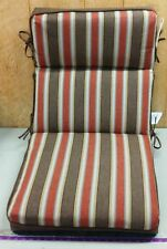 (6) Outdoor Chair Cushions ~ Scottsdale Stripe/Brown Solid ~ 21 x 44 x 4.5 *NEW*