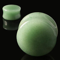 1Pair Ear Gauges-Green Jade Stone-Solid Ear Plugs-Organic Stone Flesh Tunnels