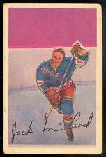 1952 53 PARKHURST HOCKEY #102 JACK ROBERT McLEOD EX cond N Y RANGERS card