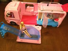 Mattel Barbie Dream Camper Rv Pink Motor Home With Pool 2016 Expandable + Doll