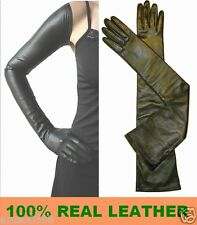 85cm(33.5 inches) Sexy Black 100% leather Extra Long Opera Gloves