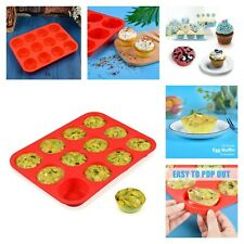Silicone Muffin Pan Mold Nonstick Bpa Free Cupcake Pans 12 Cups Bakeware New