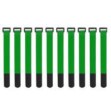 10x Green Self Adhesive Hook Loop Cable Ties Fastener Strap Cord Organizer 20cm