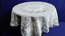 """Heritage Lace Teacups  36"""" X 36""""  White Table Topper"""